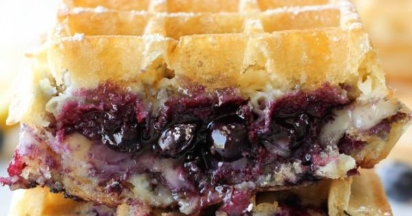 Brie and Blueberry Grilled Cheese Waffle #breakfast #recipe