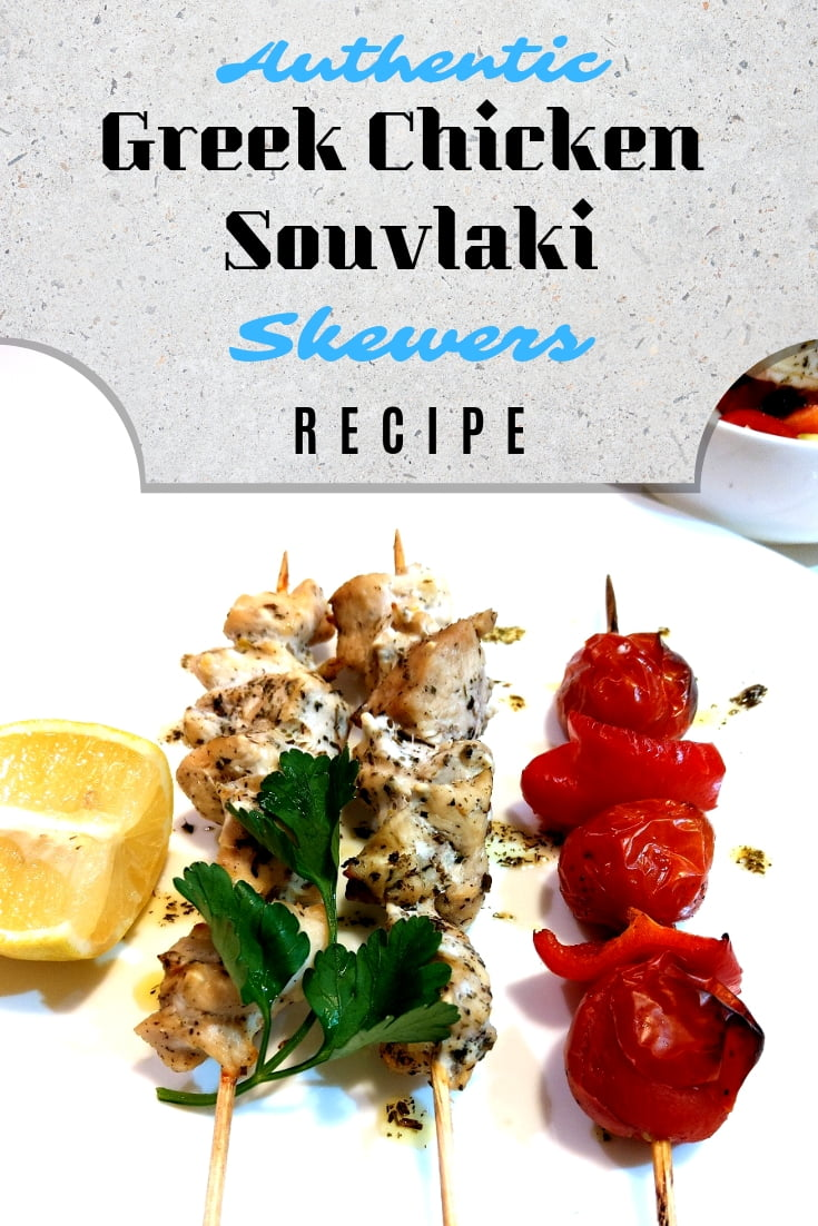Make authentic Greek chicken Souvlaki skewers in the oven. Quick and easy recipe! #chicken #recipe #food #dinner