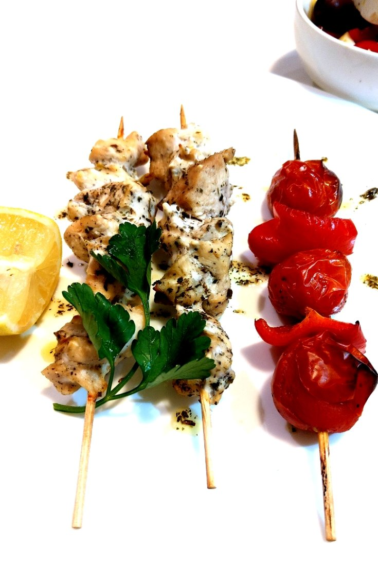 Authentic chicken souvlaki skewers in the oven #recipe #chicken