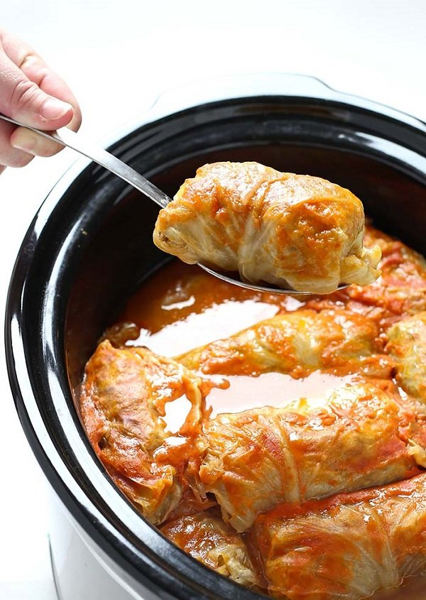 Crock Pot Stuffed Cabbage Rolls #recipe #dinner