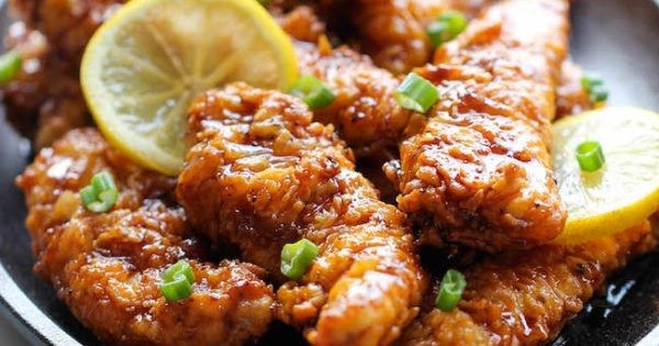 Asian Lemon Chicken Tenders #recipe #dinner