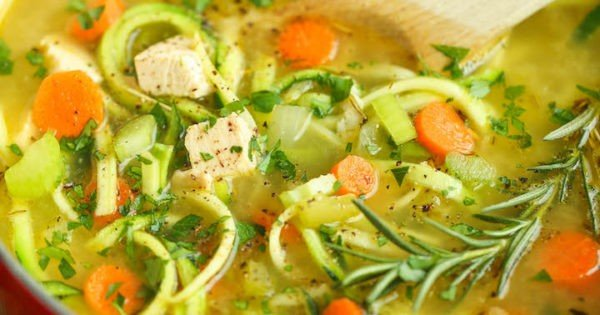 Chicken Zoodle Soup #recipe #dinner