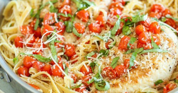 Tomato Basil Chicken Fettuccine #recipe #dinner