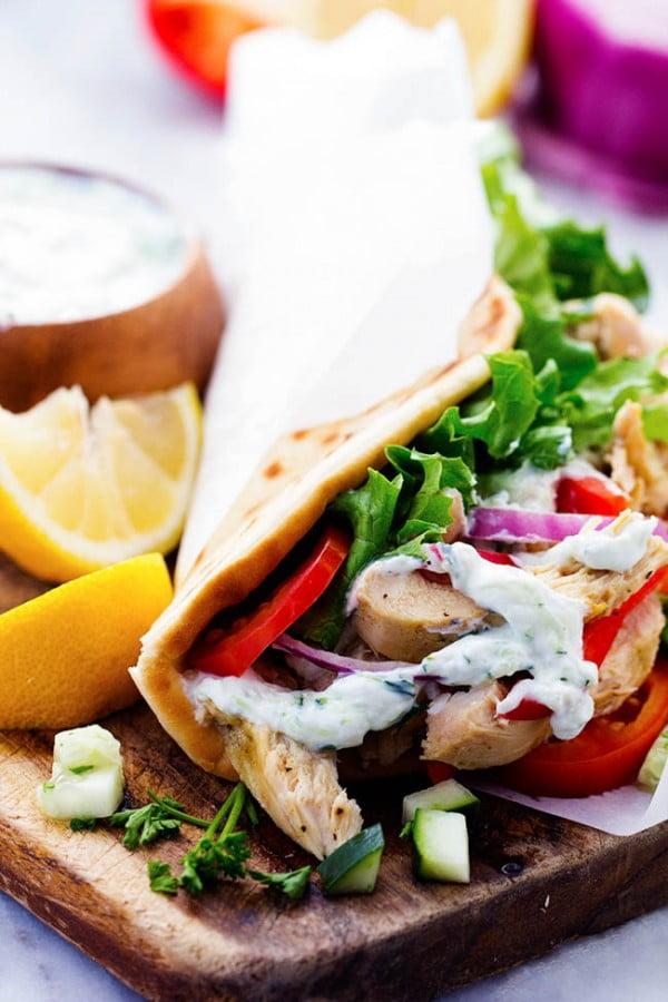 Slow Cooker Greek Chicken Gyros #recipe #dinner