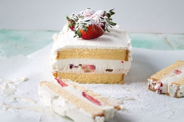 Strawberry and Ice Cream Cake #recipe #dessert