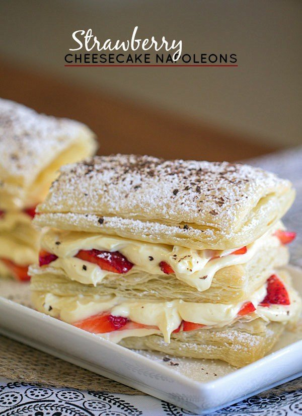 Strawberry Cheesecake Napoleons #recipe #dessert