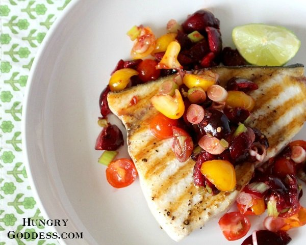 Grilled Swordfish with Spicy Cherry Salsa #recipe #fish #dinner