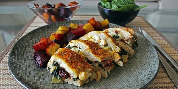 Healthy Stuffed Chicken Breast #chicken #recipe #dinner
