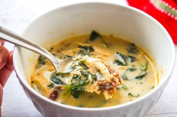Creamy Sun Dried Tomato Chicken Soup #chicken #soup #dinner #recipe