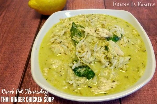 Crock Pot Thai Ginger Chicken Soup #chicken #soup #dinner #recipe