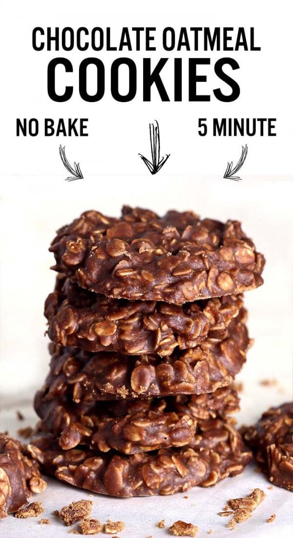 No Bake Chocolate Oatmeal Cookies #dessert #chocolate #cookies