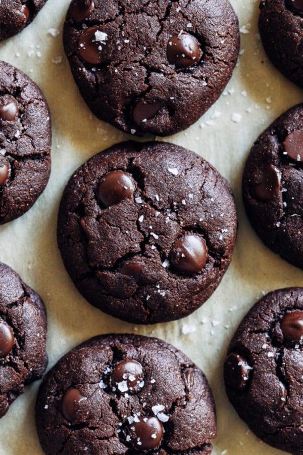 Vegan Gluten-free Double Chocolate Cookies #dessert #chocolate #cookies