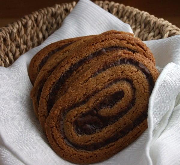 Chocolate Swirled Peanut Butter Cookies Recipe #dessert #chocolate #cookies
