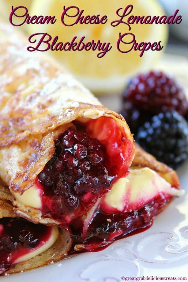 Cream Cheese Lemonade Blackberry Crepes #crepes #recipe #dinner