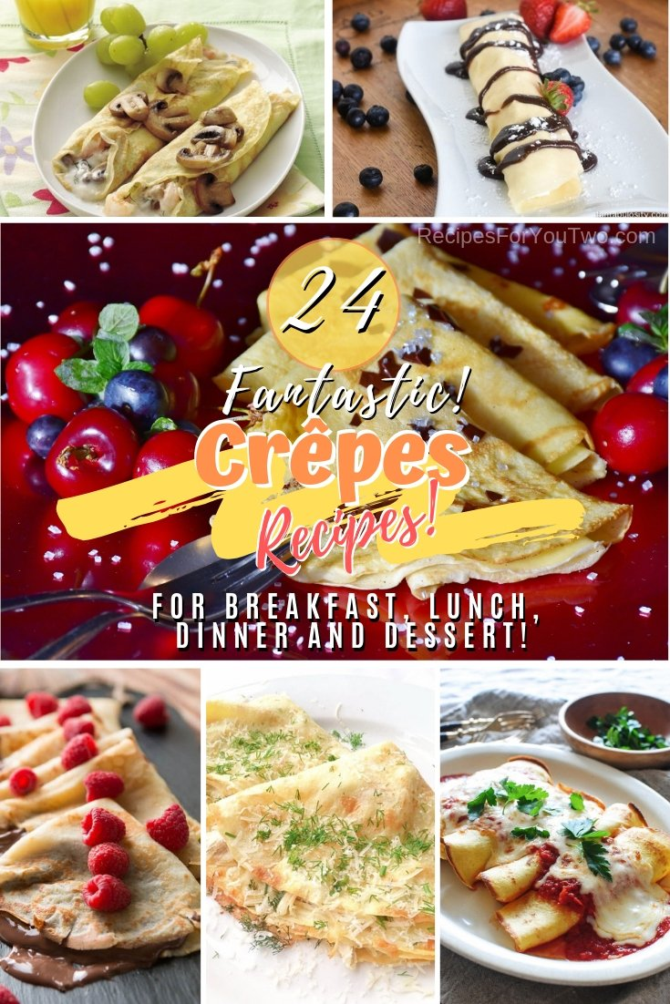 Make delicious crepes for breakfast, lunch, dinner, and dessert with these awesome recipes! Great list! #recipe #crepes #dinner #dessert #lunch #breakfast