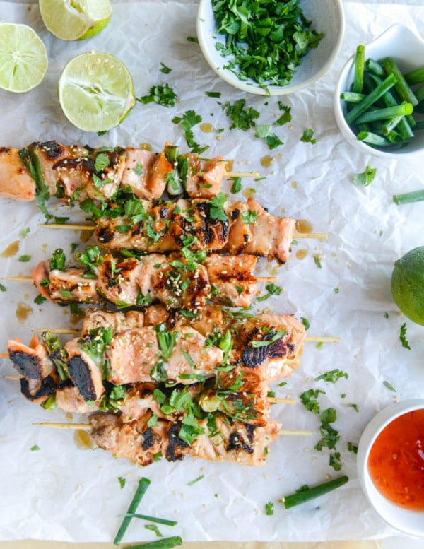 30-Minute Sweet Thai Chili Salmon Skewers #recipe #fish #dinner