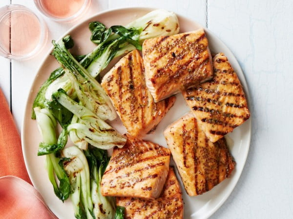 Honey-Mustard-Glazed Salmon Steaks #fish #recipe #dinner