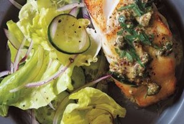 Pan-Fried Cod With Mustard-Caper Sauce #recipe #fish #dinner