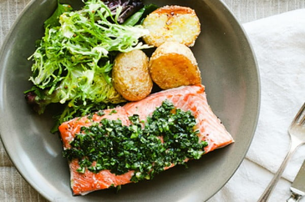 Quick And Easy Salmon With Simple Roasted Potatoes #recipe #fish #dinner