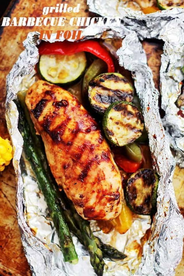 Grilled Barbecue Chicken and Vegetables in Foil Recipe #grill #dinner #recipe