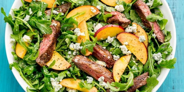 Balsamic Grilled Steak Salad with Peaches #grill #dinner #recipe