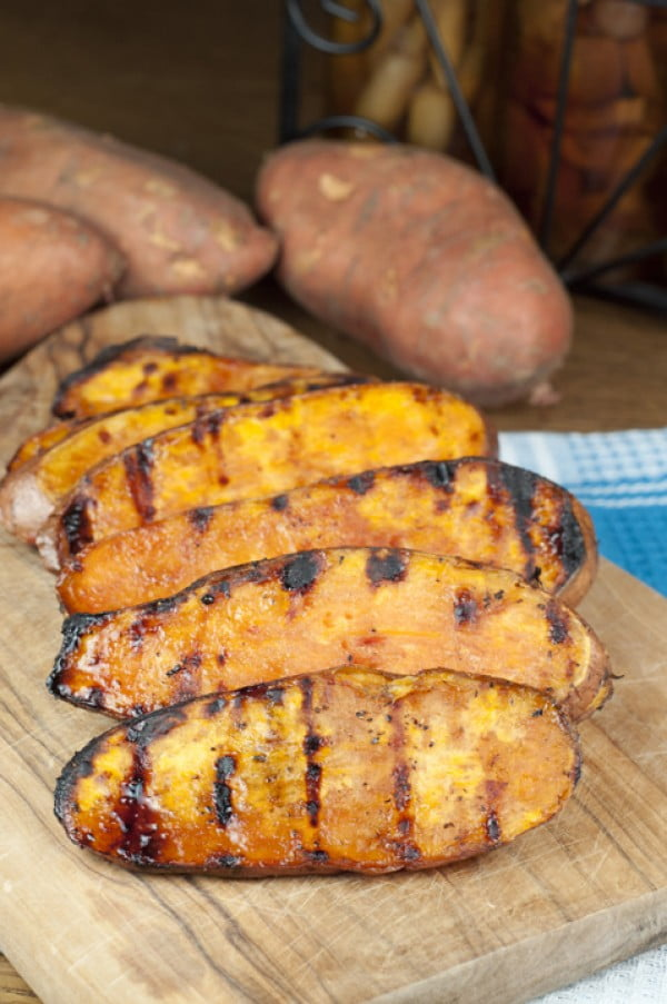 Grilled Sweet Potatoes with Cherry Glaze #grill #dinner #recipe