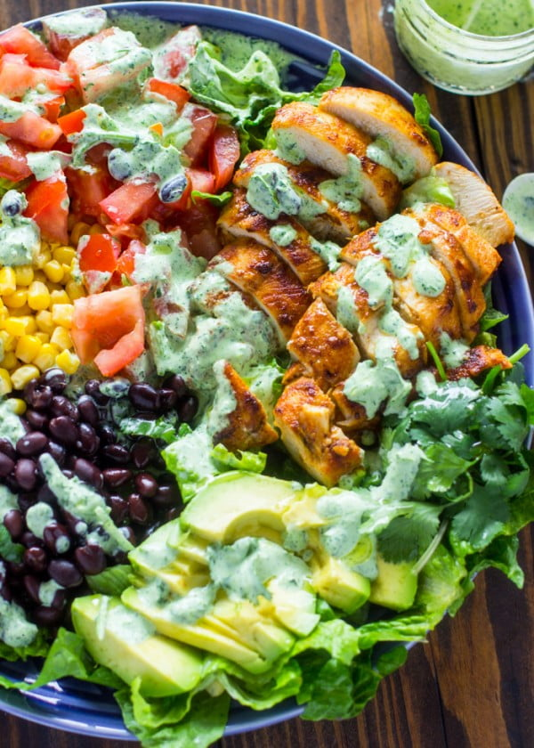 Southwestern Chicken Salad with Creamy Cilantro Dressing #recipe #salad #healthy