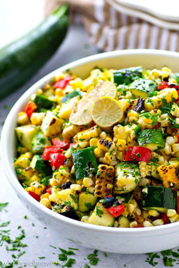 Charred Zucchini Sweet Corn Mexican Salad #recipe #salad #healthy