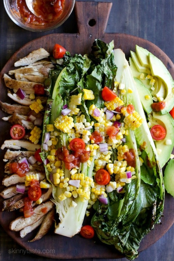 Grilled Romaine, Corn and Chicken Salad with Salsa Dressing #recipe #salad #healthy