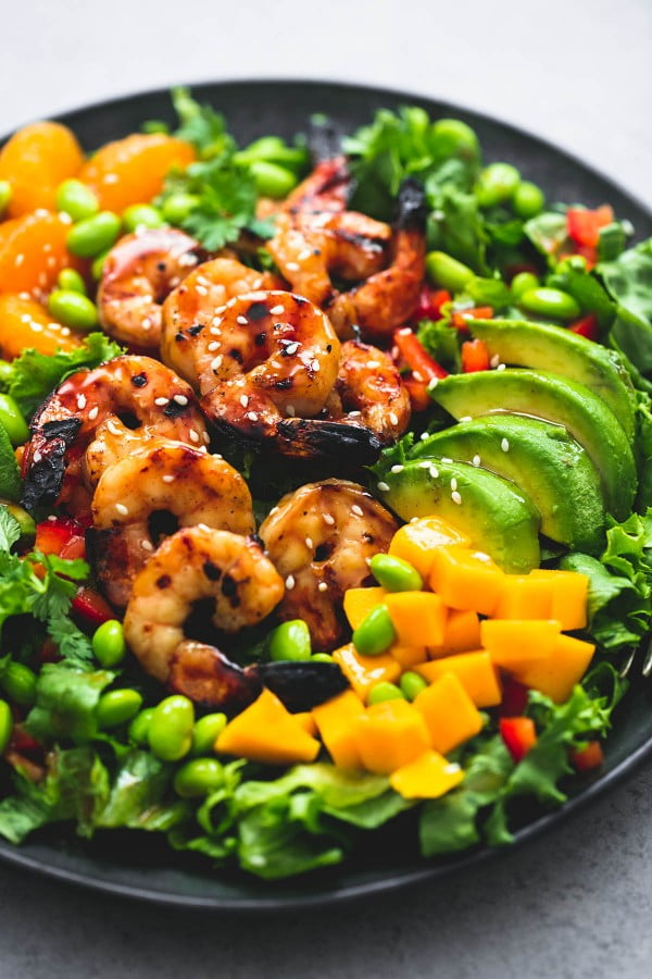 Mango Mandarin Sesame Shrimp Salad #recipe #salad #healthy