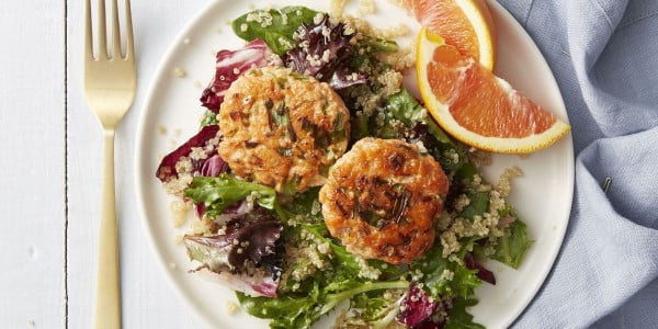 Salmon Cakes with Quinoa Salad #recipe #salad #healthy
