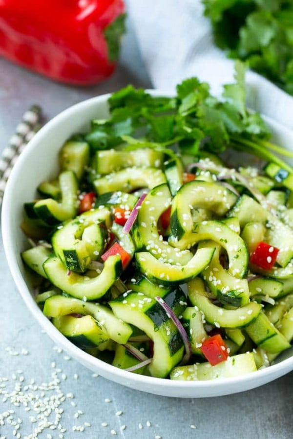 Asian Cucumber Salad #recipe #salad #healthy
