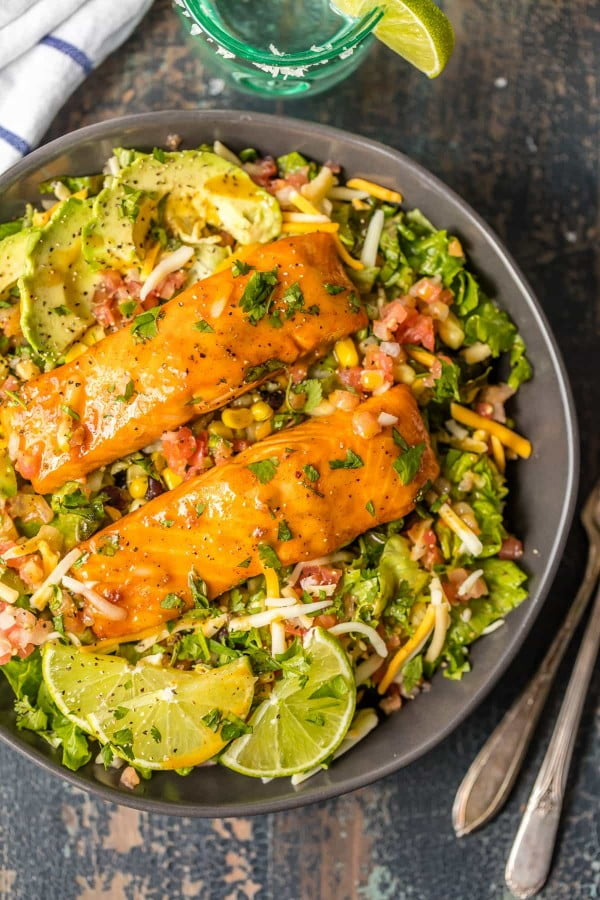 Tequila Lime Salmon Salad #recipe #salad #healthy