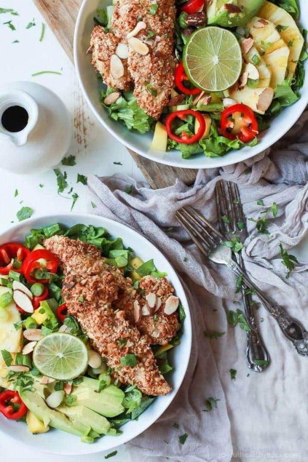 Tropical Coconut Chicken Salad Recipe + Crispy Almond Chicken Tenders #recipe #salad #healthy