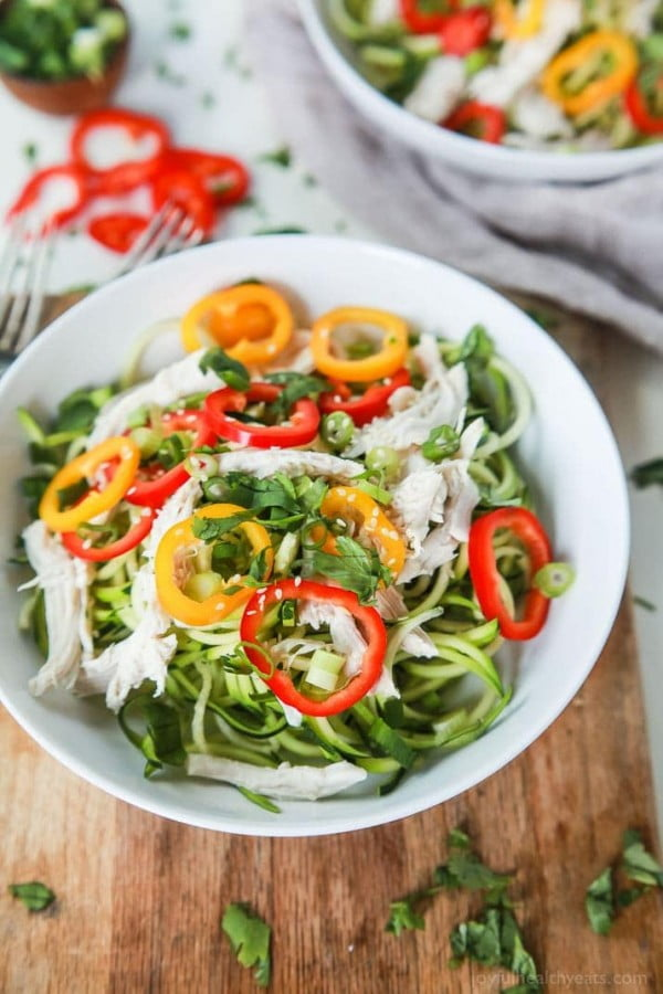 Thai Chicken Zucchini Noodle Salad with Sesame Vinaigrette #recipe #salad #healthy