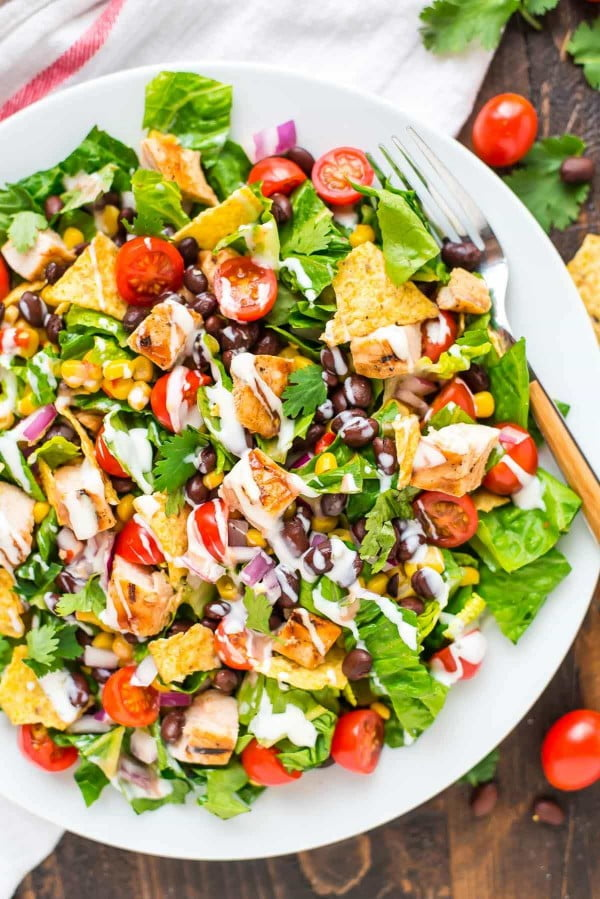 BBQ Chicken Salad with Creamy Ranch #recipe #salad #healthy