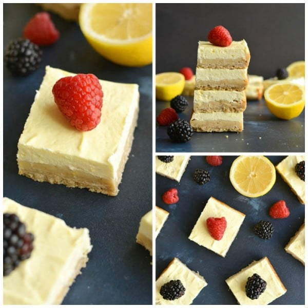 Skinny Greek Yogurt Lemon Bars {GF, Low Calorie} #lowcalorie #recipe #dinner