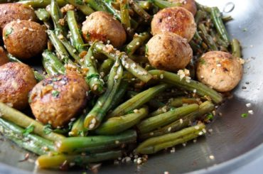 Green Bean and Meatball Stir #lowcalorie #recipe #dinner