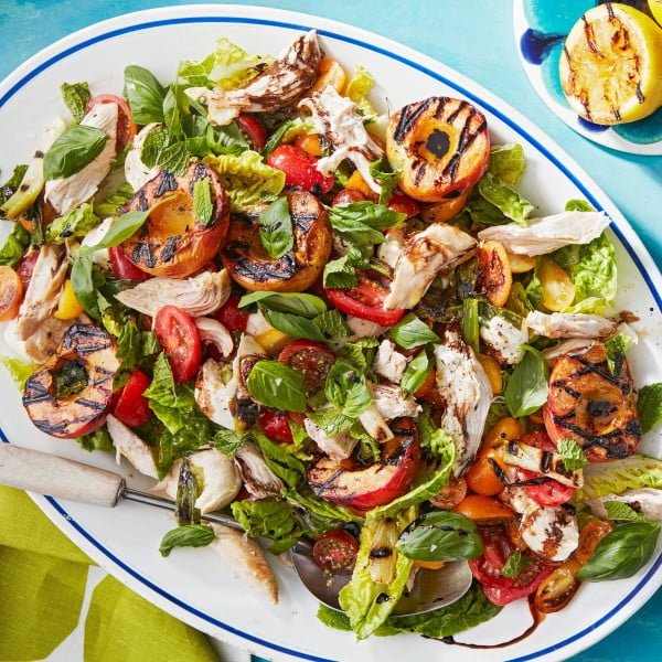 Rachael's Grilled-Peach Caprese Salad with Rotisserie Chicken meat-salad