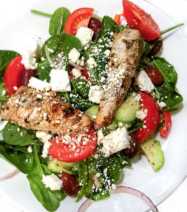 Greek Spinach Salad with Grilled Turkey Tips and Feta meat-salad