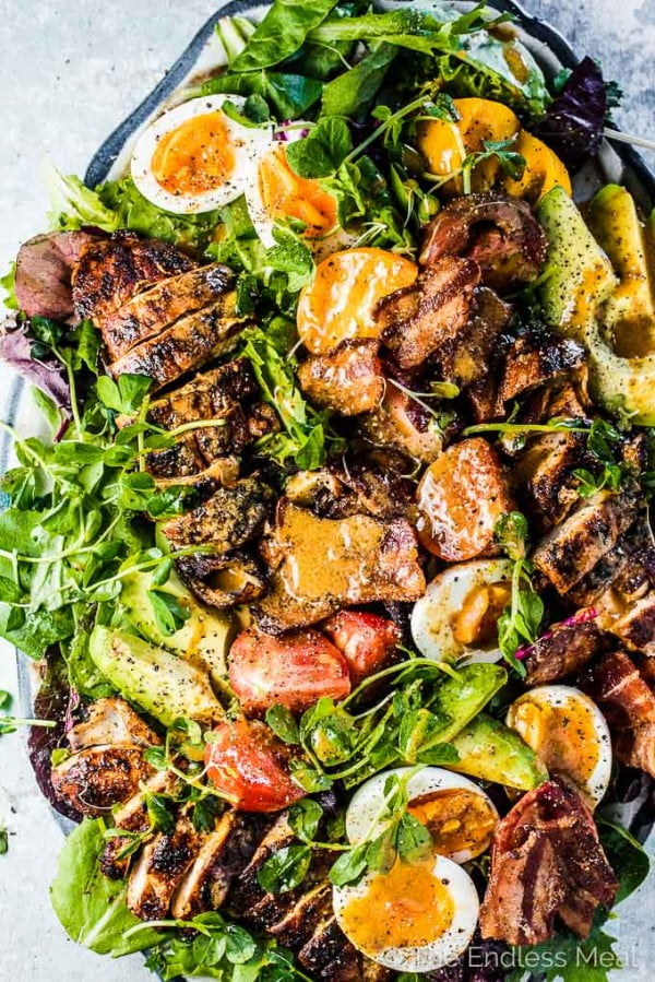 Grilled Chicken Cobb Salad with Warm Bacon Vinaigrette meat-salad