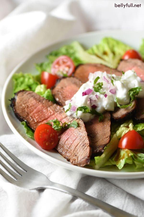 Grilled Steak Salad with Tzatziki Sauce meat-salad