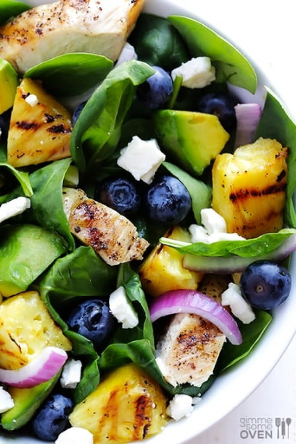 Grilled Pineapple, Chicken and Avocado Salad meat-salad