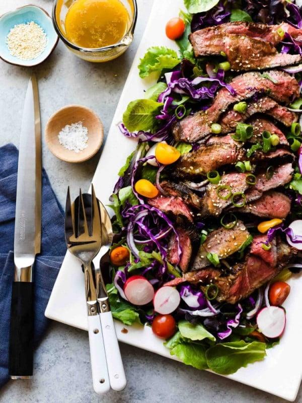 Miso-Marinated Steak Salad #meat #salad #dinner #recipe