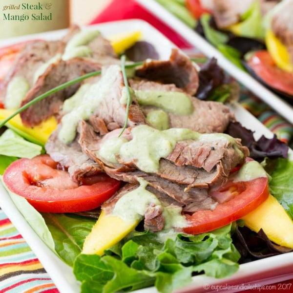 Grilled Steak Mango Salad with Avocado Buttermilk Ranch Dressing #meat #salad #dinner #recipe