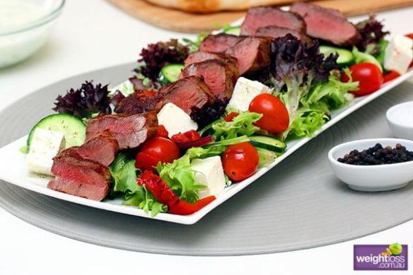Grilled Lamb Salad with Tzatziki #meat #salad #dinner #recipe