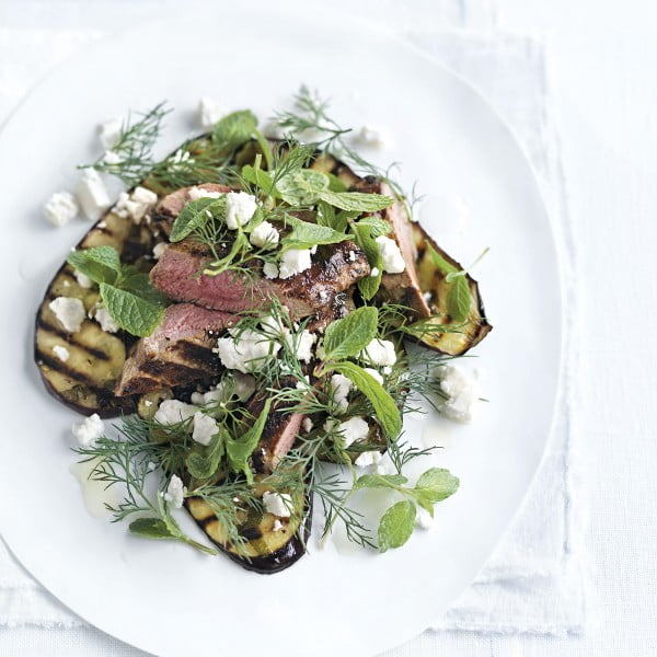 Grilled Lamb And Aubergine With Feta And Mint Salad #meat #salad #dinner #recipe