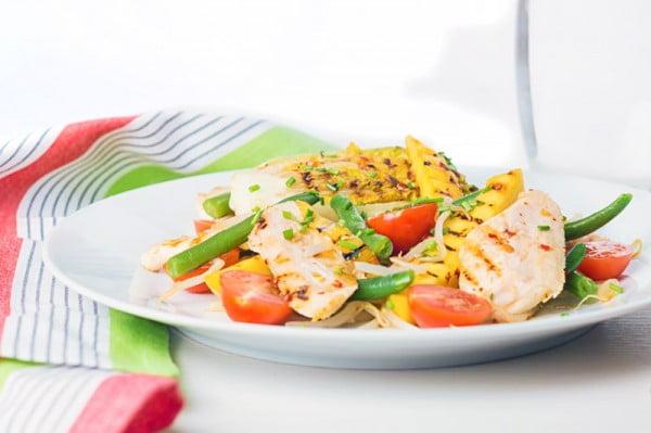 Griddled Chicken and Mango Salad #meat #salad #dinner #recipe