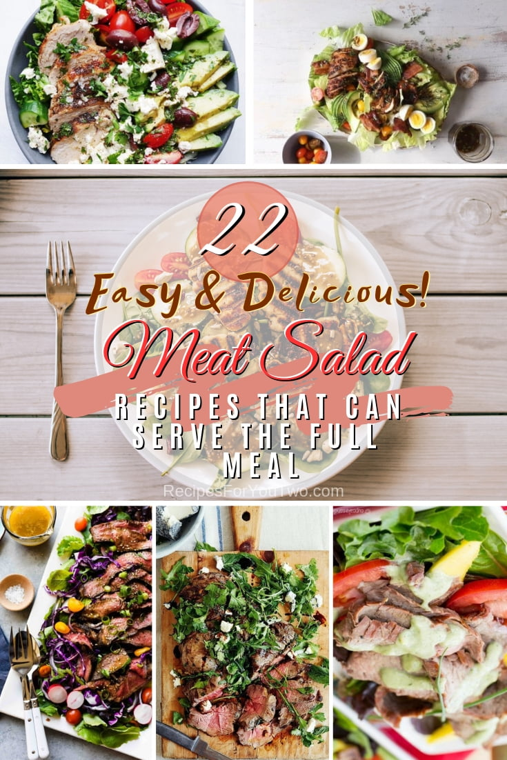 Attention all meat lovers! You will love these fantastic 22 meat salad recipes and they will make the full meal. Great list! #recipe #dinner #salad #meat