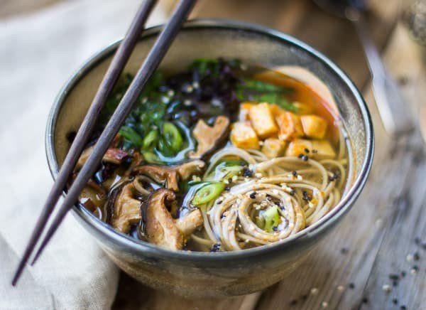 Miso and Soba Noodle Soup with Roasted Sriracha Tofu and Shiitake Mushrooms • The Bojon Gourmet #meatless #dinner #recipe
